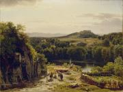1854 Prints -  Landscape in the Harz Mountains Print by Thomas Worthington Whittredge