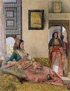 Maids Framed Prints -  Life in the harem - Cairo Framed Print by John Frederick Lewis
