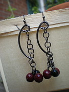 Handcrafted Jewelry Prints -  Link Gun Metal Earrings Print by Beth Sebring