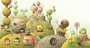 Green Drawings Originals -  Lisas Journey06 by Kestutis Kasparavicius