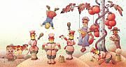 Red Drawings Prints -  Lisas Journey09 Print by Kestutis Kasparavicius
