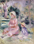 Sun Hat Posters -  Madame Renoir and Her Son Pierre Poster by Pierre Auguste Renoir