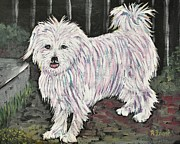 Canines Painting Framed Prints -  Maltese Terrier Mix In Living Color Framed Print by Reb Frost