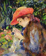 Al Fresco Metal Prints -  Marie Therese Durand Ruel Sewing Metal Print by Pierre Auguste Renoir