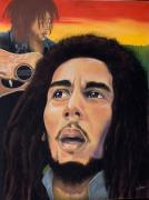 Guitar Pastels -  Memory of Bob Marley by Joyce Hayes