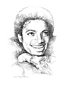 Pop Icon Drawings Posters -  Michael Jackson Smile Poster by David Lloyd Glover