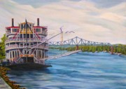 Mississippi River Painting Originals -  Mississippi Passing  by Linda  Steine