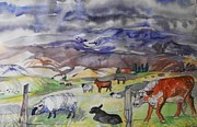 Challenger Digital Art -  Mixed Farm Animals graze in Field by Annie Gibbons