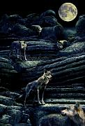 Hunters Moon Prints -  Moonlit Wolf Pack Print by Mal Bray