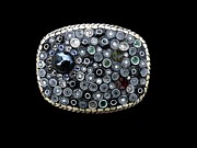 Belt Buckle Jewelry -  Mosaic Belt Buckle Abstract Circle Dots Black and White Murano Millefiori by Katherine Sutcliffe