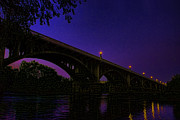 Lexington South Carolina Prints -  Night Glow On The Gervais Bridge Print by Steven Richardson