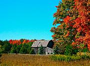 Red Leaves Mixed Media Posters -  Old Barn In Fall Color Poster by Robert Pearson