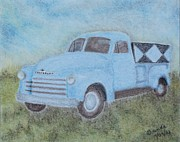 Chevy Pastels Prints -  Old Chevrolet Truck Print by Brenda Maas