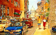 Montreal Streets Posters -  Old Montreal Paintings Aux Delices De Lerable The Maple Syrup Shop Rue St. Paul Montreal Street  Poster by Carole Spandau