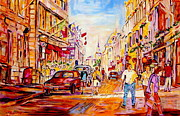 Colors Of Quebec Art -  Old Montreal Paintings  Vers Marche Et Leglise Bonsecours Rue Saint Paul Scene De Rue De Montreal by Carole Spandau