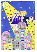 Happy Cats Prints -  On Top of the World With You Print by Lynnda Rakos