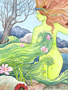 Woman In Water Painting Posters -  Ophelia  Poster by Sheri Howe