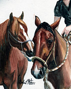 Mustang Paintings -  Overlapping by Linda L Martin