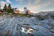 Beautiful Clouds Prints -  Pemaquid Point Reflection Print by Susan Cole Kelly