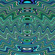 Op Art Digital Art Posters -  Perpetual Motion Machine in Caribbean Bay Poster by Pet Serrano