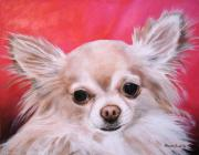 Papillon Dog Paintings -  Pet Portrait Painting Commission Papillon Dog by Sharon  Lamb