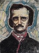 Linocut Mixed Media Posters -  Poe Dreaming Dreams  Monotype Series I Poster by Raven Creature