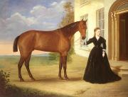 Horses Paintings -  Portrait of a lady with her horse by English School