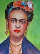Painter Drawings Prints -  Portrait of Frida Kahlo  Print by Myra Evans