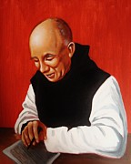 Joseph Malham Painting Metal Prints -  Portrait of Thomas Merton Metal Print by Joseph Malham