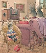 Evening Drawings Framed Prints -  Rabbit Marcus the Great 08 Framed Print by Kestutis Kasparavicius