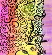Swirls Drawings Posters -  Rainbow Atmosphere Poster by Mandy Shupp