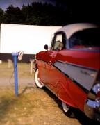 Antique Auto Originals -  Red Chevy at the Drive-In by Robert Ponzoni