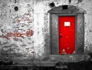Industrial Photo Acrylic Prints -  Red Door Perception Acrylic Print by Bob Orsillo