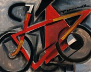 Cubism Paintings -  Red Ten Speed Bike by Tommervik