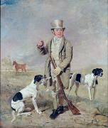 Hunting Posters -  Richard Prince with Damon - the late Colonel Mellishs Pointer Poster by Benjamin Marshall