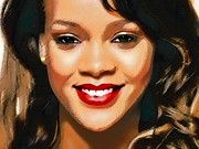 Rihanna Mixed Media Framed Prints -  Rihanna Portrait A Framed Print by Andre Drauflos