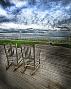 Rocking Digital Art -  Rocking Chairs on beach - Color by DMSprouse Art