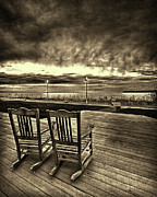 Rocking Digital Art -  Rocking Chairs on beach by DMSprouse Art