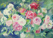 Red Flowers Painting Posters -  Roses Poster by Pierre Auguste Renoir