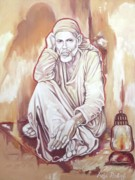 Sai Faces Paintings -  Sai Baba Painting by Anju Rastogi