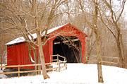Winter Scene Digital Art Prints -  Sandy Creek Cover Bridge  Print by Peggy  Franz