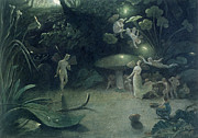 Glow Painting Prints -  Scene from A Midsummer Nights Dream Print by Francis Danby