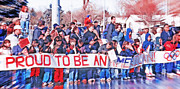 Americans Mixed Media -  School Children Holding Sign - Olympic Torch Passing by Steve Ohlsen