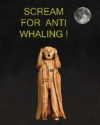 Protest Mixed Media Prints -  Scream For Anti Whaling Print by Eric Kempson