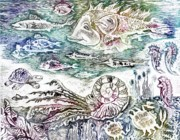 Drypoint Prints -  Sea World Print by Milen Litchkov