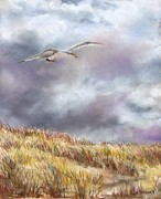 Ocean Shore Pastels Prints -  Seagull Flying Over Dunes Print by Jack Skinner