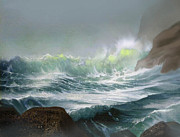 Wave Mixed Media Metal Prints -  Seaswell Metal Print by Robert Foster