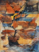 Blues Painting Originals -  Sedimentary Strata by Kathie Selinger