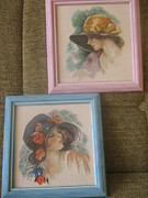 Picture Tapestries - Textiles Originals -  SET- Ladies with hats by Veselina Simeonova
