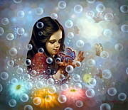 Korea Paintings -  Soap Bubble girl 2 by Yoo Choong Yeul